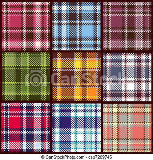 set of seamless checkered vector pattern  - csp7209745
