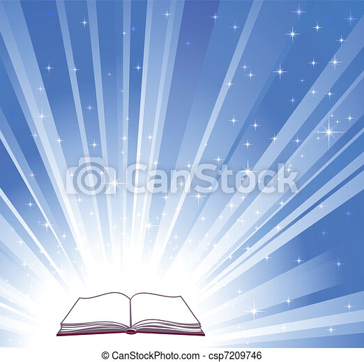 Open book and blue bright background - csp7209746