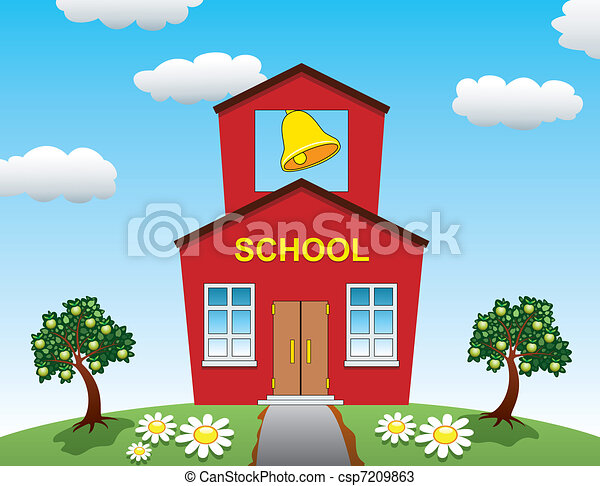 school house and apple trees - csp7209863