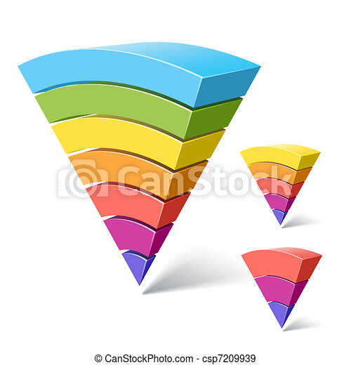 7, 5 and 3-layered pyramid shapes - csp7209939