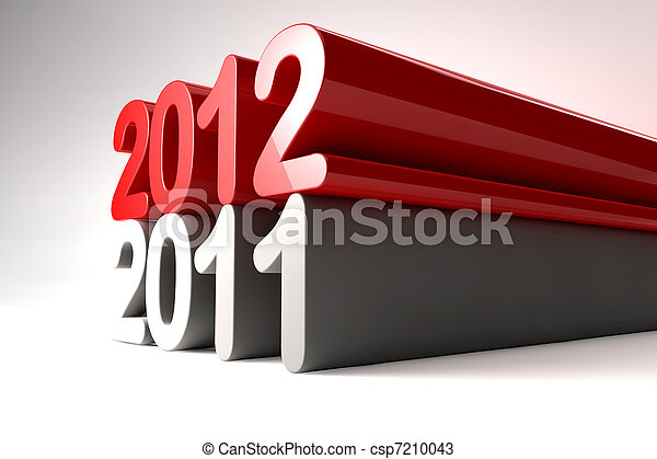 New year 2012 stands on 2011 - csp7210043