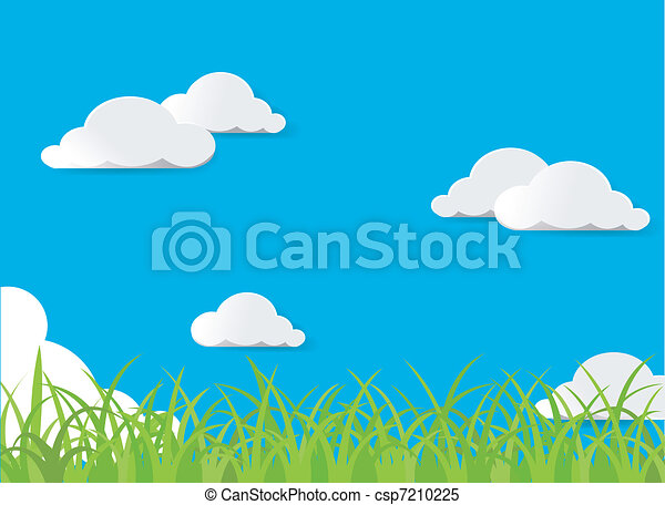 Green grass and blue sky - csp7210225