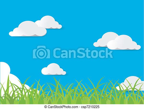 Green grass and blue sky  - csp7210225