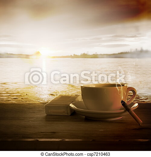 Loneliness. Coffee and Cigarette Burning Down - csp7210463