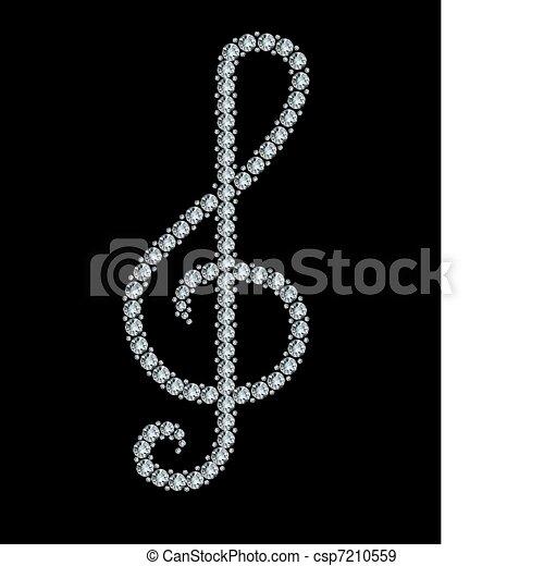 Diamond treble clef.  - csp7210559