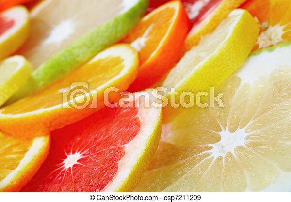 Citrus fruits background - csp7211209