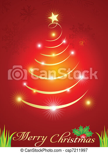 abstract  christmas tree with spark - csp7211997