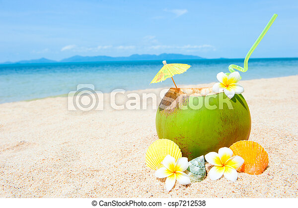 Ocean beach with palm and and exotic coctail - csp7212538