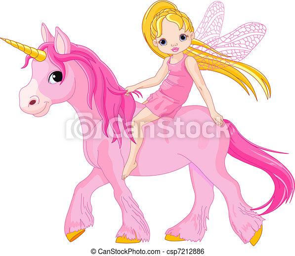 Fairy on unicorn - csp7212886