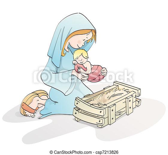 Cute Christmas nativity - csp7213826