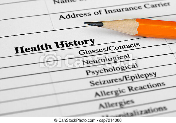 Health history form  - csp7214008