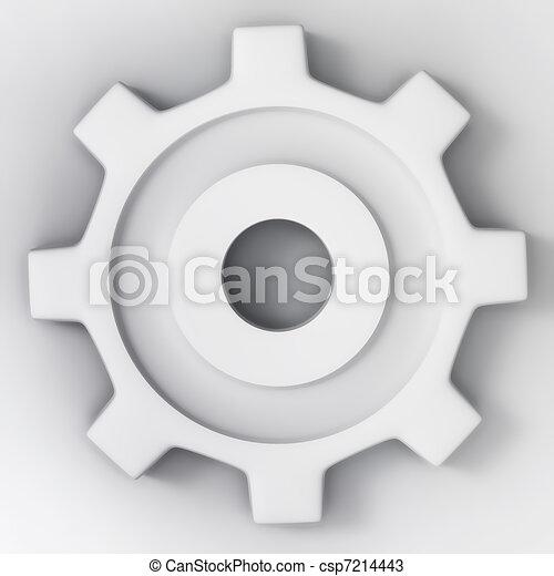 white 3d gear wheel - csp7214443
