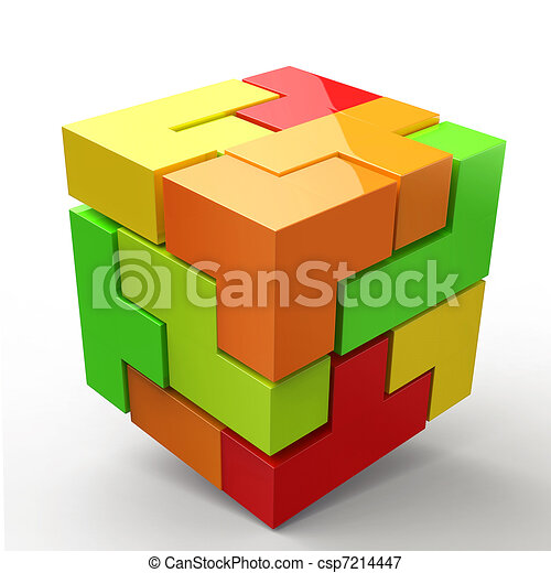 3D Cubes colored abstraction - csp7214447