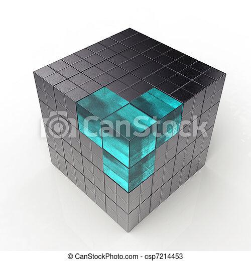 black 3d futuristic cube - csp7214453