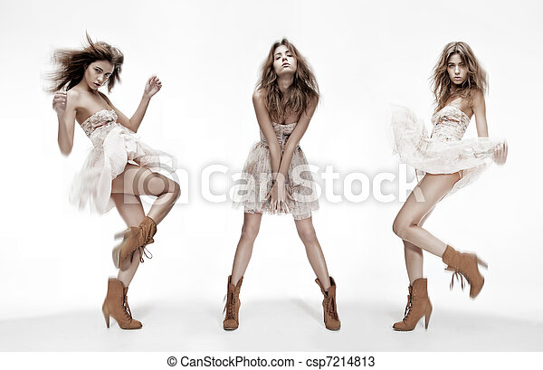 triple image of fashion model in different poses - csp7214813