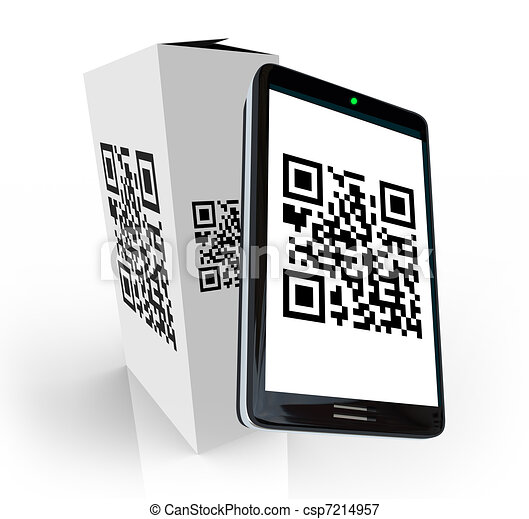 Smart Phone Scanning QR Code on Product Box for Info - csp7214957