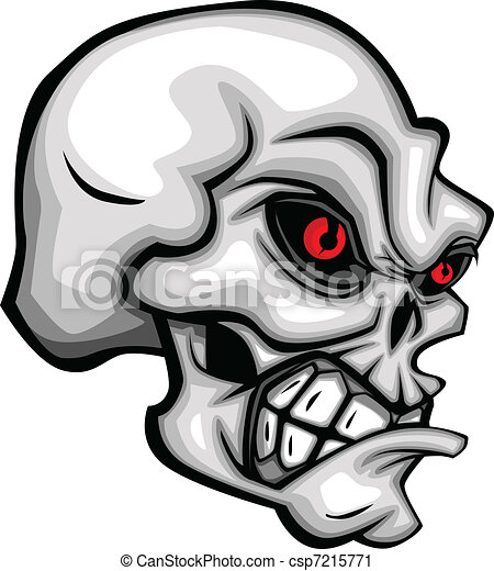 Skull Cartoon with Red Eyes - csp7215771
