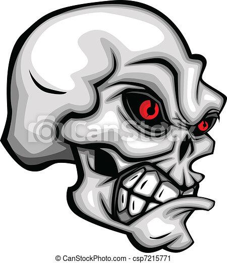 Skull Cartoon with Red Eyes - csp7215771