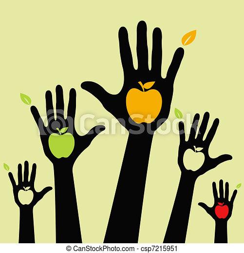 Healthy apple hands  - csp7215951