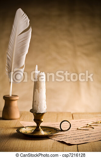 Not burning candle on vintage table - csp7216128