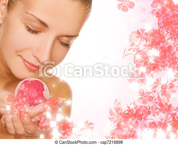 Beautiful girl with aroma bath ball - csp7216898