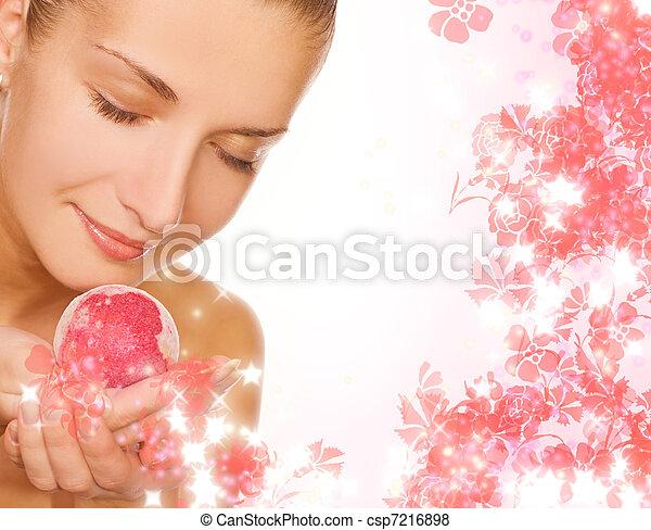 Beautiful girl with aroma bath ball - csp7216898
