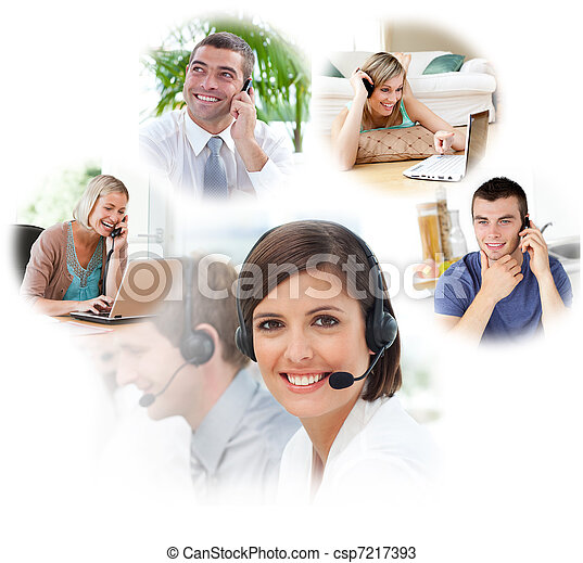Customer service agents in a call center - csp7217393