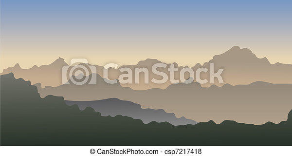 Vector gradient  of a mountains. - csp7217418