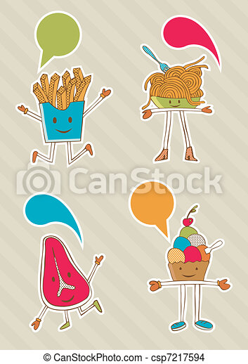 Colourful food cartoons with dialogue balloon. - csp7217594