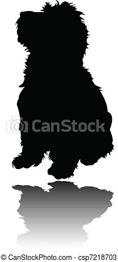 little puppy with shadow - vector - csp7218703
