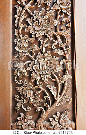 Wooden temple window carving  - csp7218725
