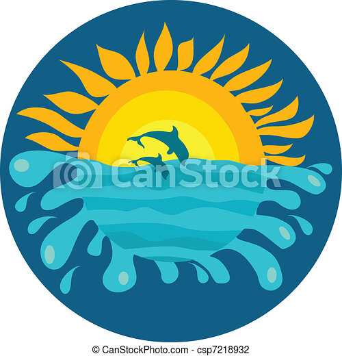 two dolphins on sunny background of the ocean - csp7218932