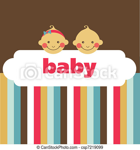 retro newborn baby card with boy and a girl - csp7219099