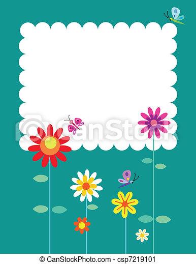 Springtime flowers and butterflies - csp7219101