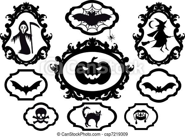 halloween frames, vector - csp7219309