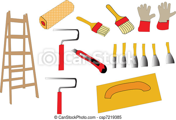 vecteur clipart de 2 vecteur outils peinture illustration de outils csp7219385. Black Bedroom Furniture Sets. Home Design Ideas