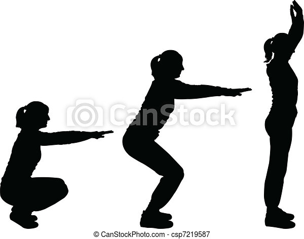 girls exercising - vector - csp7219587