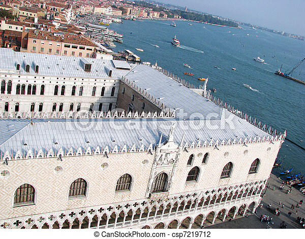 Venice town air view with Ducale Palace and