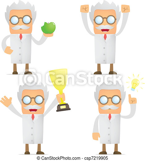 funny cartoon scientist celebrates victory - csp7219905