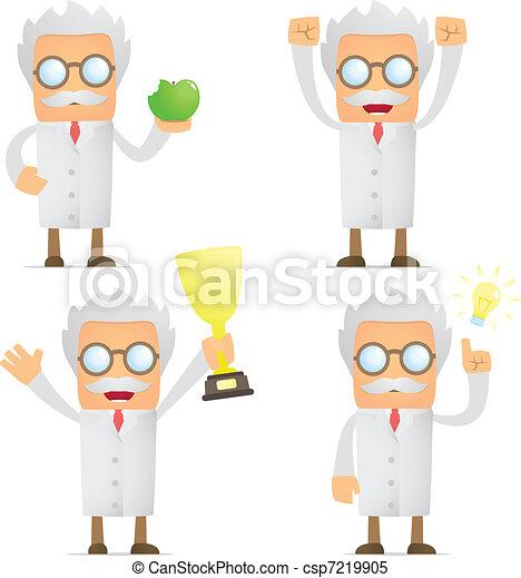 funny cartoon scientist celebrates victory - csp7219905