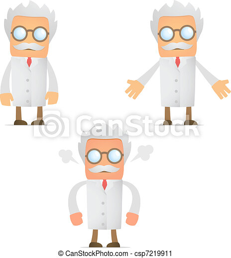 funny cartoon scientist angry and frustrated - csp7219911