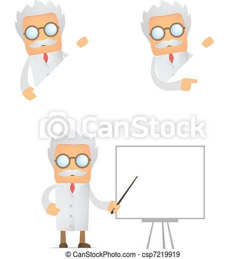 funny scientist looks out over an empty field - csp7219919