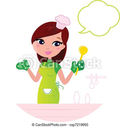 Vector Clip Art De Hermoso Mujer Cocina Joven Discurso
