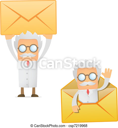 funny cartoon scientist with a letter - csp7219968