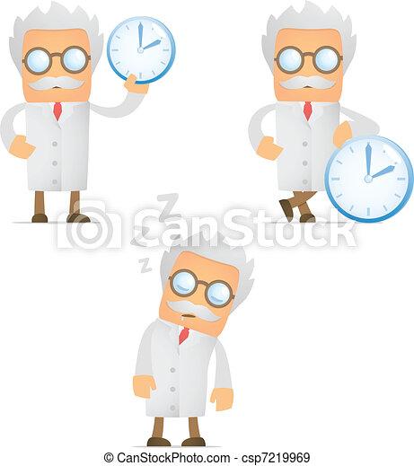 funny cartoon scientist - csp7219969
