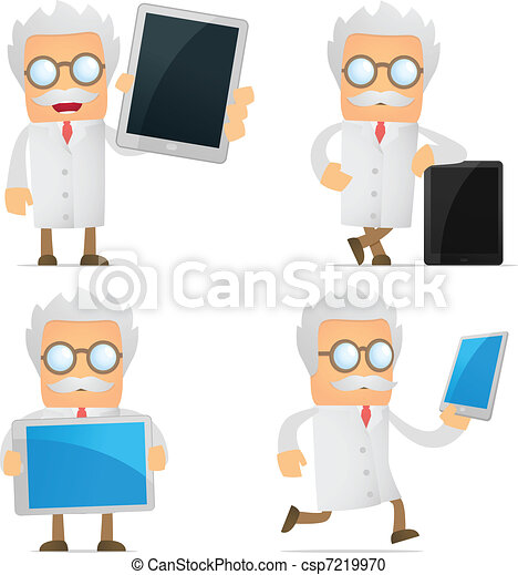 funny cartoon scientist with a laptop - csp7219970