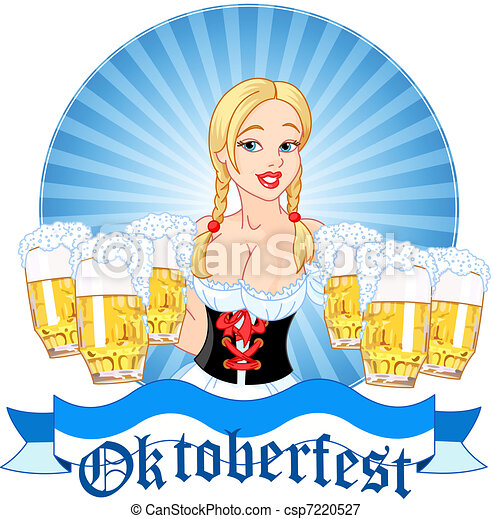 Oktoberfest girl serving beer - csp7220527