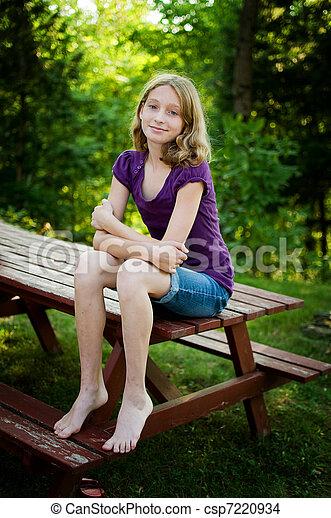 Stock Photo of pretty teen girl - teen girl sitting ...