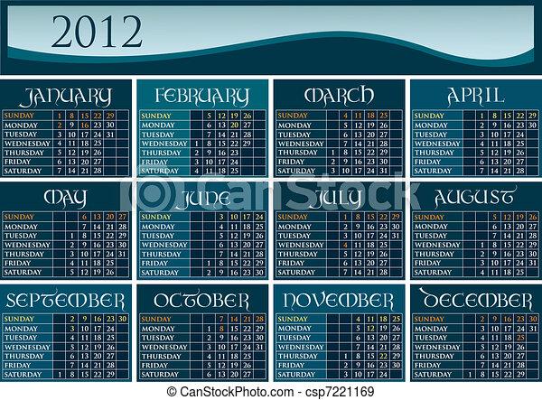 US calendar 2012 - csp7221169