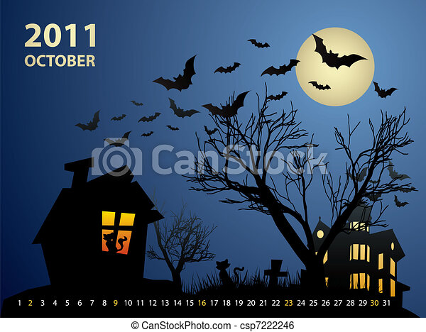 October calendar - Halloween with haunted house, bats and pumpkin - csp7222246